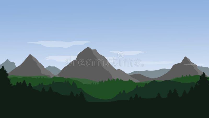 Wektoru krajobraz z górami, wzgórzami, lasem i niebieskim niebem z, ilustracji