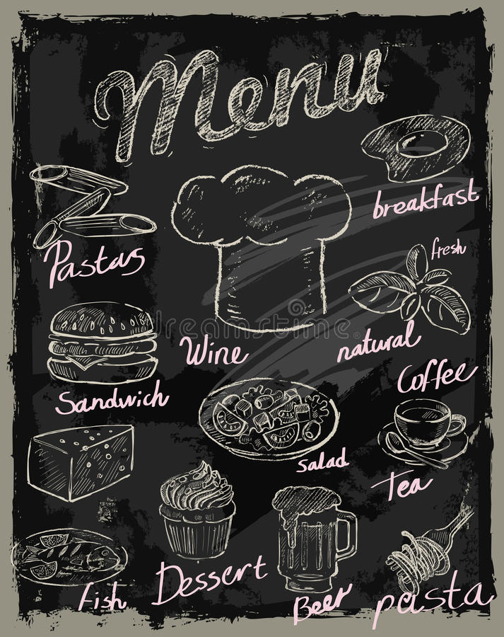 Wektoru kredowy menu ilustracja wektor