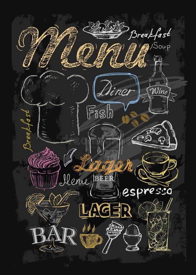Wektoru kredowy menu ilustracji