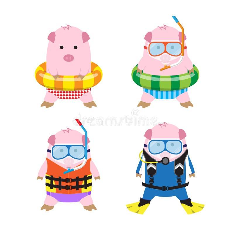 Wektoru 4 kreskówki świnie w lecie Odziewają dla Dennej podróży royalty ilustracja