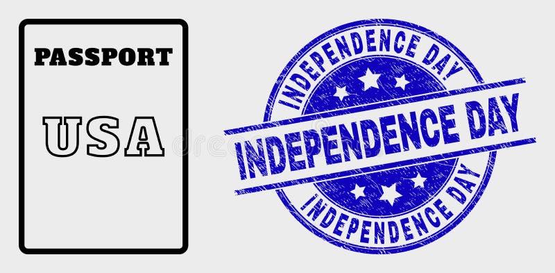 Wektoru Kreskowego usa Paszportowa ikona i Porysowana dzień niepodległości foka ilustracji