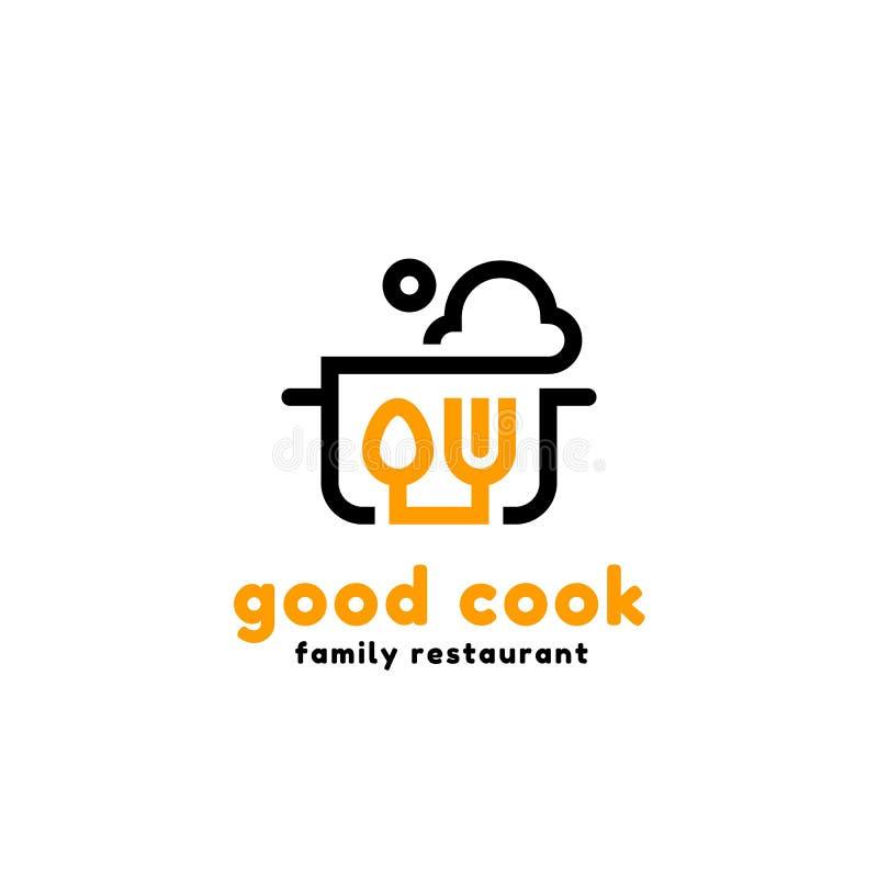 Wektoru kreskowy logotyp niecka z kontrparą, łyżką i rozwidleniem, Loga pojęcie dla kuchni i restauracj ilustracja wektor