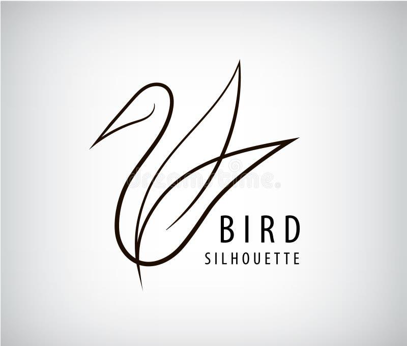 Wektoru kreskowy ptasi logo, gołębia sylwetka, latający abstrakcjonistyczny logo, ikona royalty ilustracja