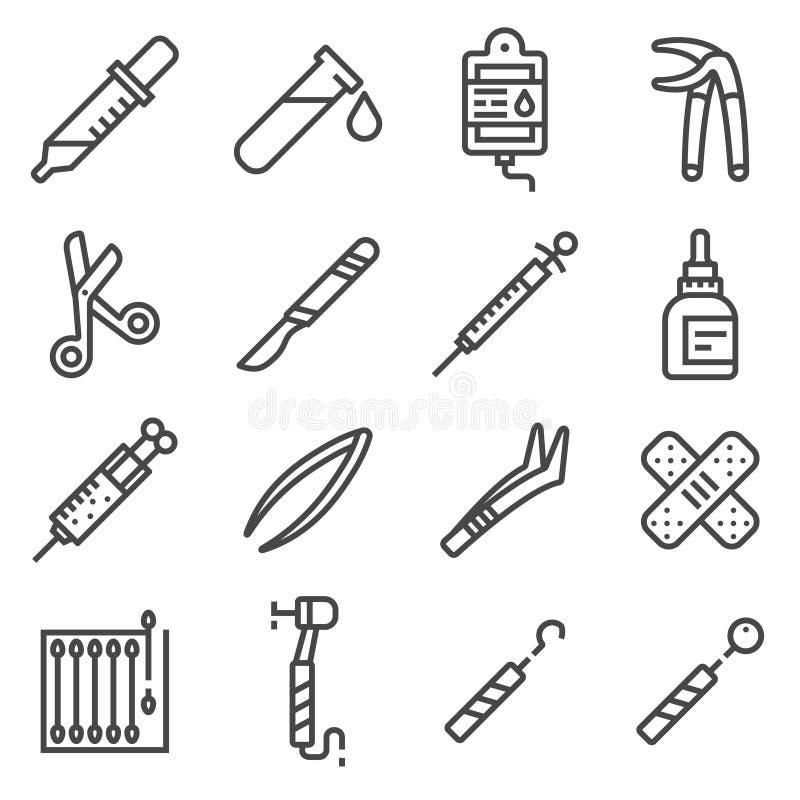 Wektoru kreskowy sprzęt medyczny i dostaw ikony Ustawiać ilustracji