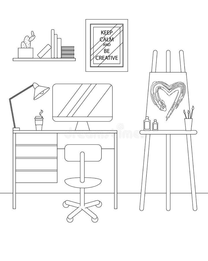 Wektoru Kreskowy Wewnętrzny projekt Kreatywnie miejsce pracy ilustracji