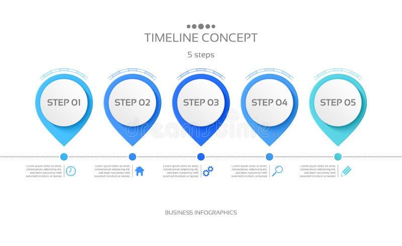 Wektoru 5 kroków linii czasu infographic szablon royalty ilustracja