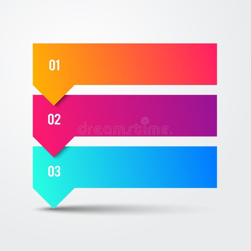 Wektoru 3 kroka Strzałkowatej listy sztandarów Infographic Kolorowy diagram royalty ilustracja