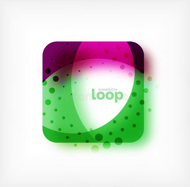 Wektoru kwadrata pętli biznesowy symbol, geometryczna ikona tworząca fala, z zamazanym cieniem ilustracji