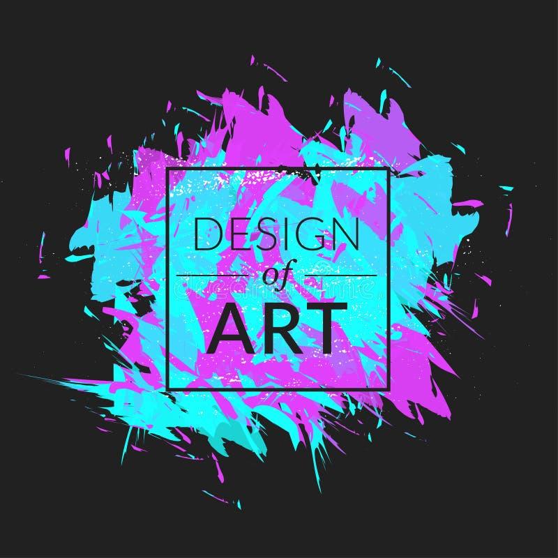 Wektoru kwadrata rama z farby muśnięcia tłem i teksta projekt sztuka Abstrakt grafiki okładkowa zieleń i fiołkowy kolor ilustracja wektor