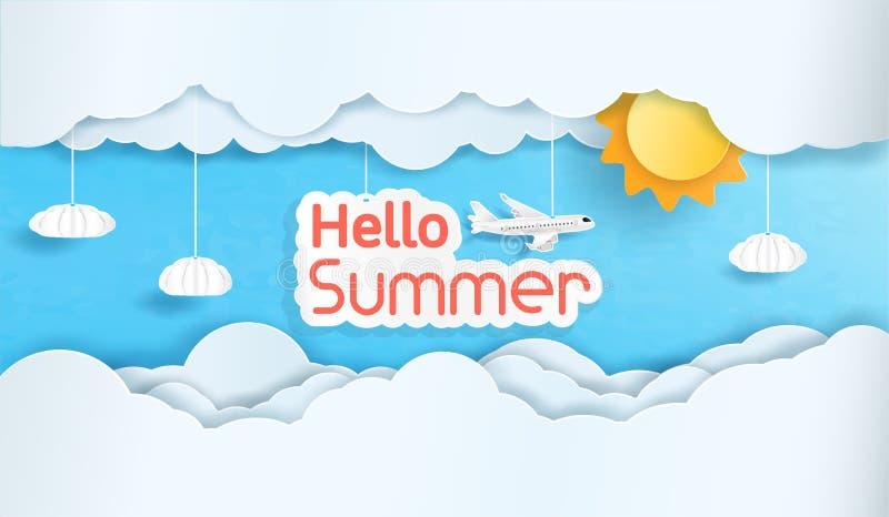 Wektoru lato i niebo z dużo Cześć chmurniejemy ilustracja wektor