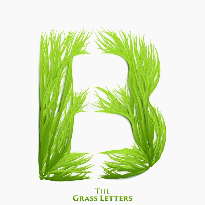 Wektoru listowy b soczysty trawy abecadło Zielony b symbolu składać się z narastająca trawa Realistyczny abecadło organicznie ilustracja wektor