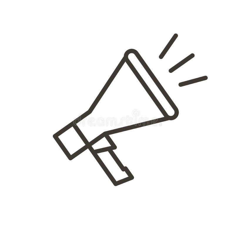 Wektoru megafonu cienka kreskowa ikona dla wiadomości, reklama, communica royalty ilustracja