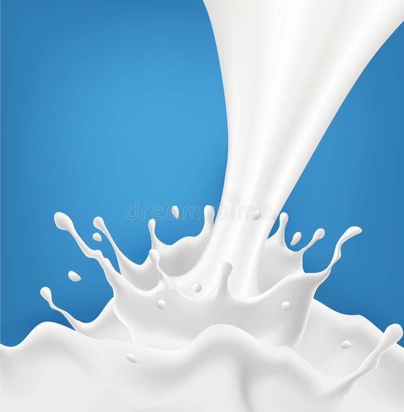 Wektoru mleka pluśnięcie z pluśnięciami odizolowywającymi na błękitnym tle ilustracji