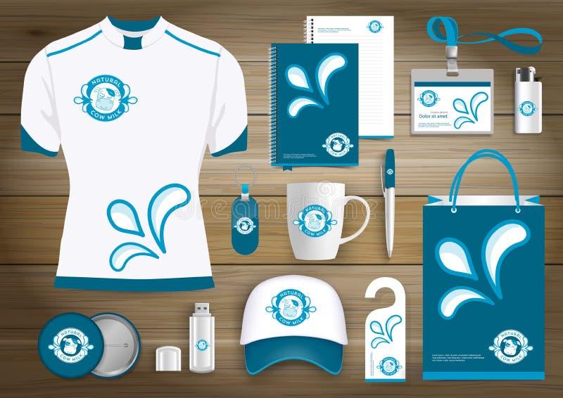 Wektoru mleko, jogurt lub śmietanka logo, sklep spożywczy, rolnictwo sklep, krowa prezenta rzeczy, Barwimy promocyjnego pamiątka  royalty ilustracja