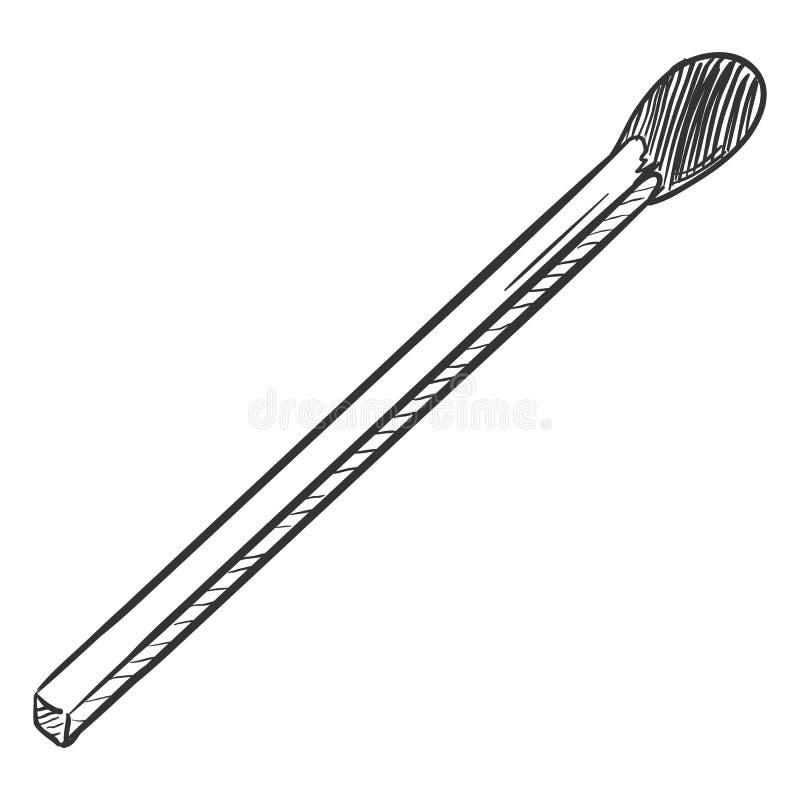 Wektoru nakreślenia Pojedynczy Matchstick ilustracja wektor