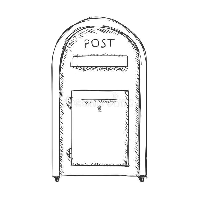 Wektoru nakreślenia ulicy Pojedynczy Postbox ilustracja wektor