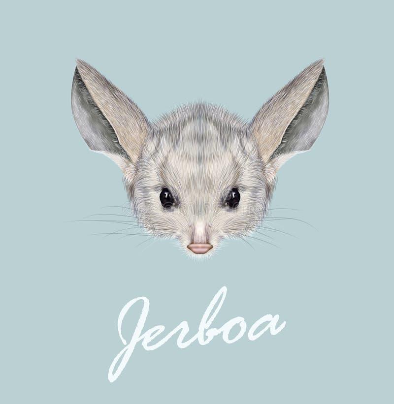 Wektoru obrazkowy portret Jerboa royalty ilustracja