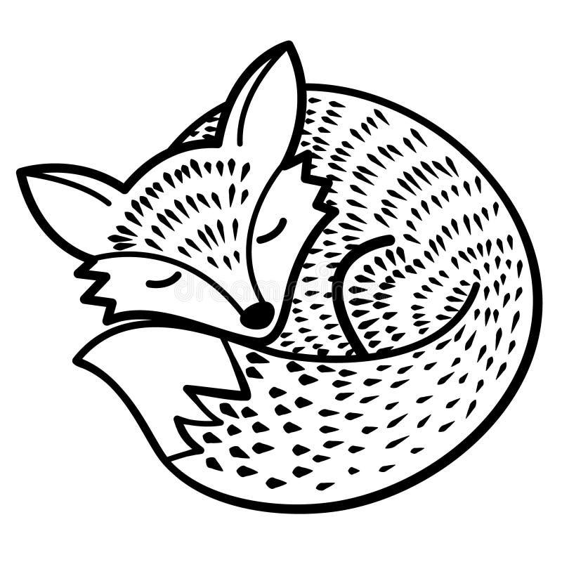 Wektoru odosobniony lis czarny white ilustracji