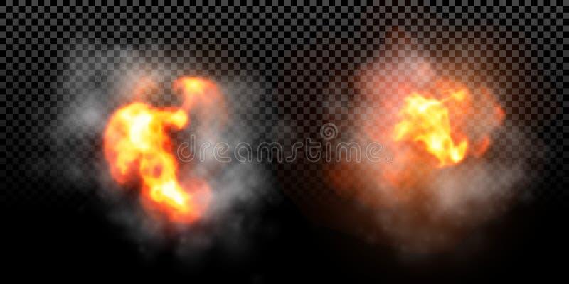 Wektoru ogienia płomienia wybuchu skutek na czarnym tle ilustracja wektor