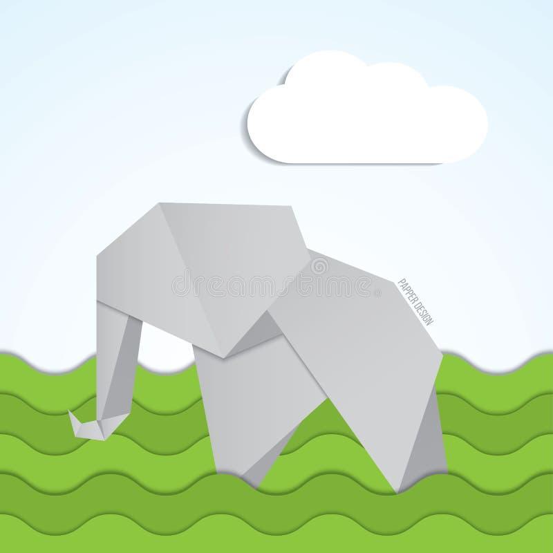 Wektoru origami słonia papierowa ikona na tła witn chmurnieje royalty ilustracja