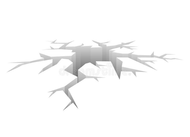 Wektoru pęknięcie Projektująca dziura Trzaska pojęcia bielu tło royalty ilustracja