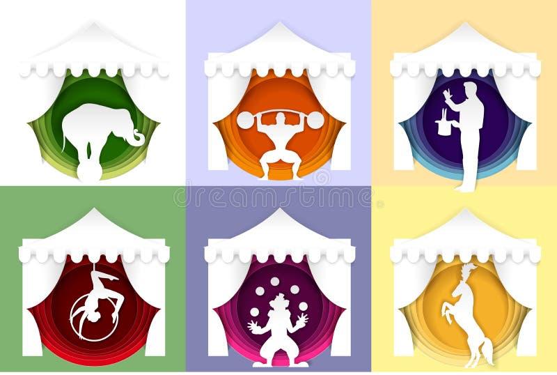 Wektoru papieru rżnięty cyrkowy plakat, logo, grępluje set royalty ilustracja