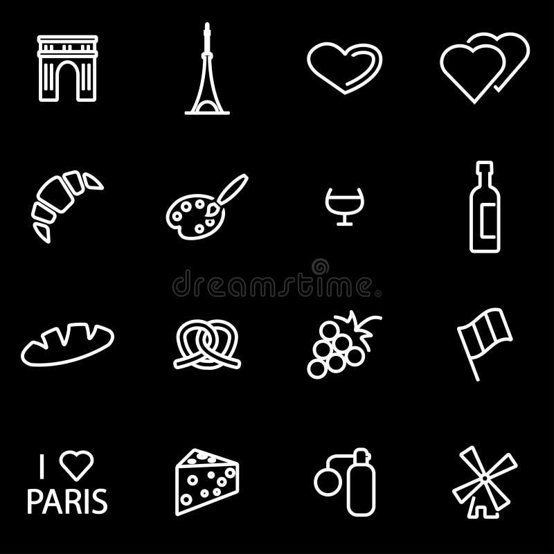 Wektoru Paris ikony kreskowy set ilustracji