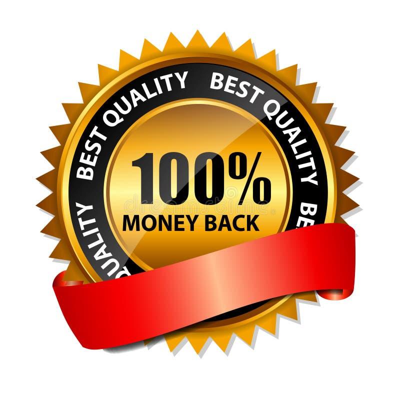 Wektoru pieniądze złota 100% tylny znak, etykietka szablon ilustracja wektor