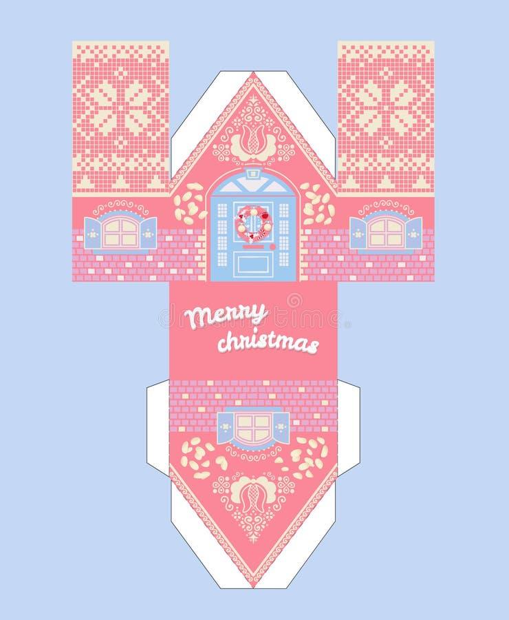 Wektoru Piernikowego domu Różowy szablon Śliczny Printable prezent z boże narodzenie glazerunku elementami ilustracji