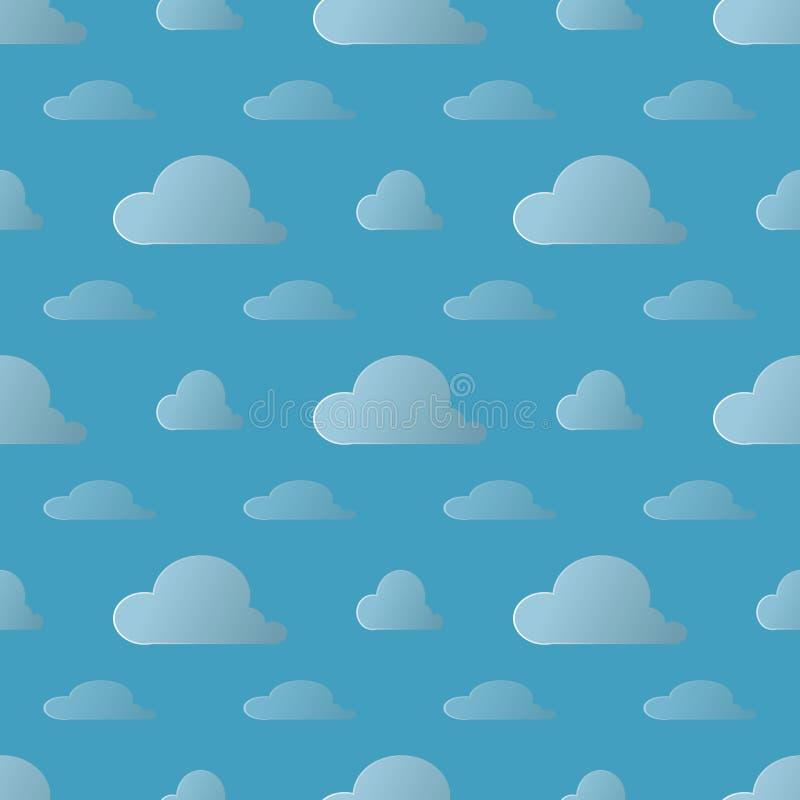 Wektoru pogodowy tło Bezszwowy wzór z kreskówką chmurnieje na niebieskim niebie ilustracji