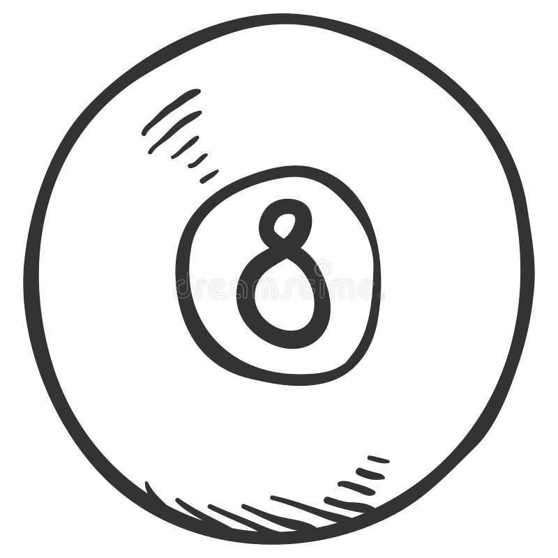 Wektoru Pojedynczego nakreślenia Bilardowa piłka z liczbą Osiem ilustracja wektor