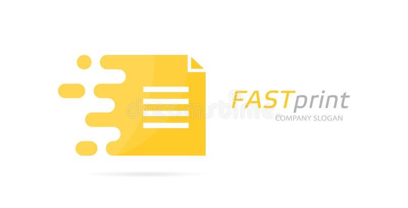 Wektoru postu kartoteki loga kombinacja Prędkość dokumentu ikona lub symbol Unikalny strony i notatki logotypu projekta szablon ilustracja wektor