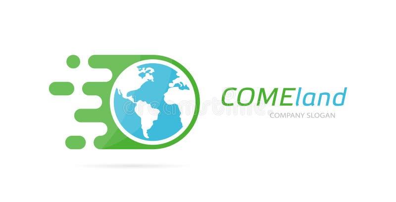 Wektoru postu ziemi loga kombinacja Prędkości ikona lub Unikalny globalny i ekologia logotypu projekta szablon ilustracja wektor