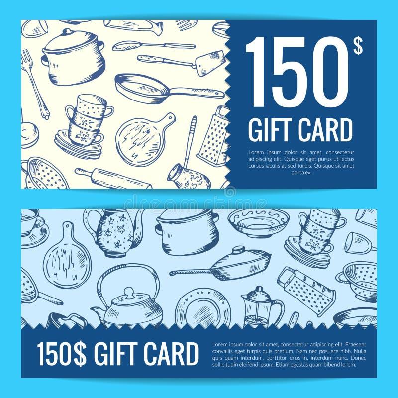 Wektoru prezenta lub alegata karty dyskontowa kuchnia ilustracji