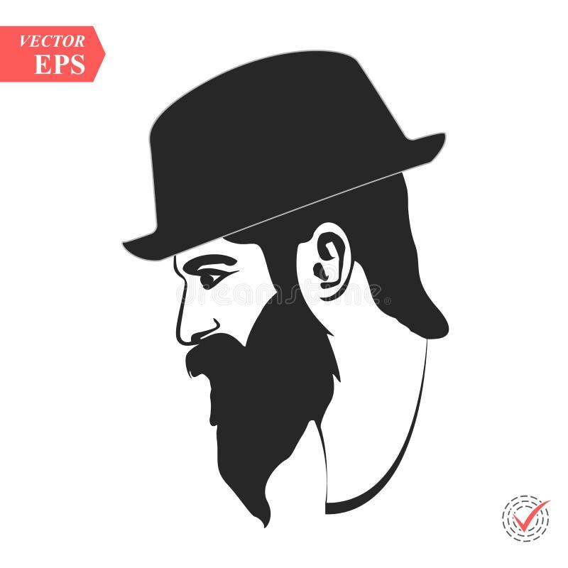 Wektoru profilowy widok smutny brodaty mężczyzna jest ubranym kapeluszowy patrzeć w dół ilustracji