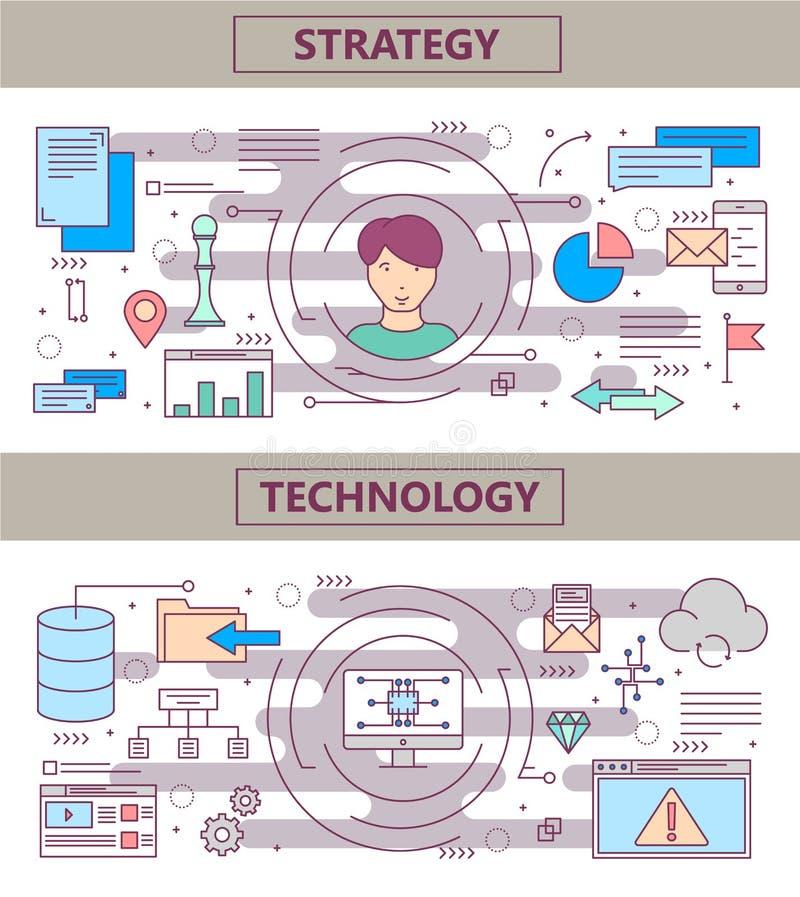 Wektoru projekta technologii i strategii cienkiego kreskowego płaskiego pojęcia sztandary ilustracja wektor