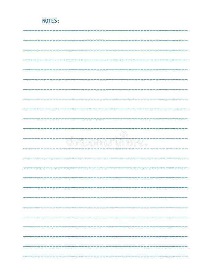 Wektoru prześcieradło prążkowany listowego rozmiaru papier dla notatek, odosobniony na białym tle royalty ilustracja