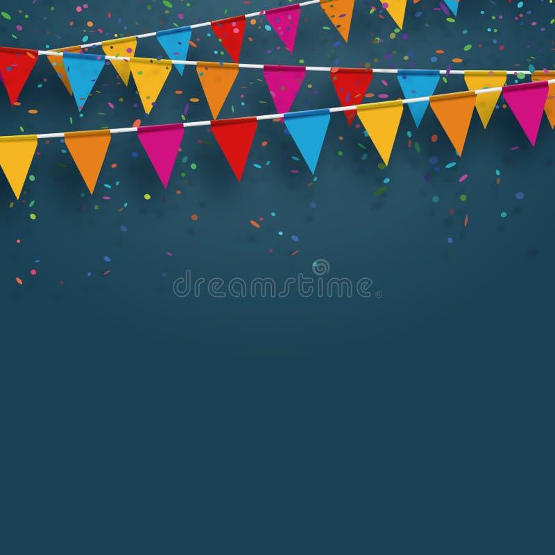 Wektoru przyjęcia flagi z confetti Świętuje pojęcie sztuka rysujący ręki ilustracyjny n natury ure ilustracji
