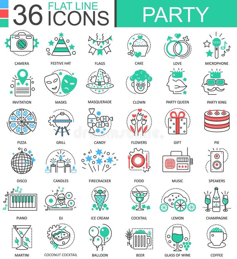 Wektoru przyjęcia klubu koloru mieszkania linii konturu ikony dla apps i sieć projekta Szczęśliwi chłodno przyjęcie klubu element ilustracji