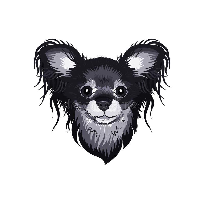 Wektoru psa twarz, Rosyjski Zabawkarski Terrier mały traken pies Elegancka szara psia głowa Odosobnione ilustracje dla druku na T ilustracji