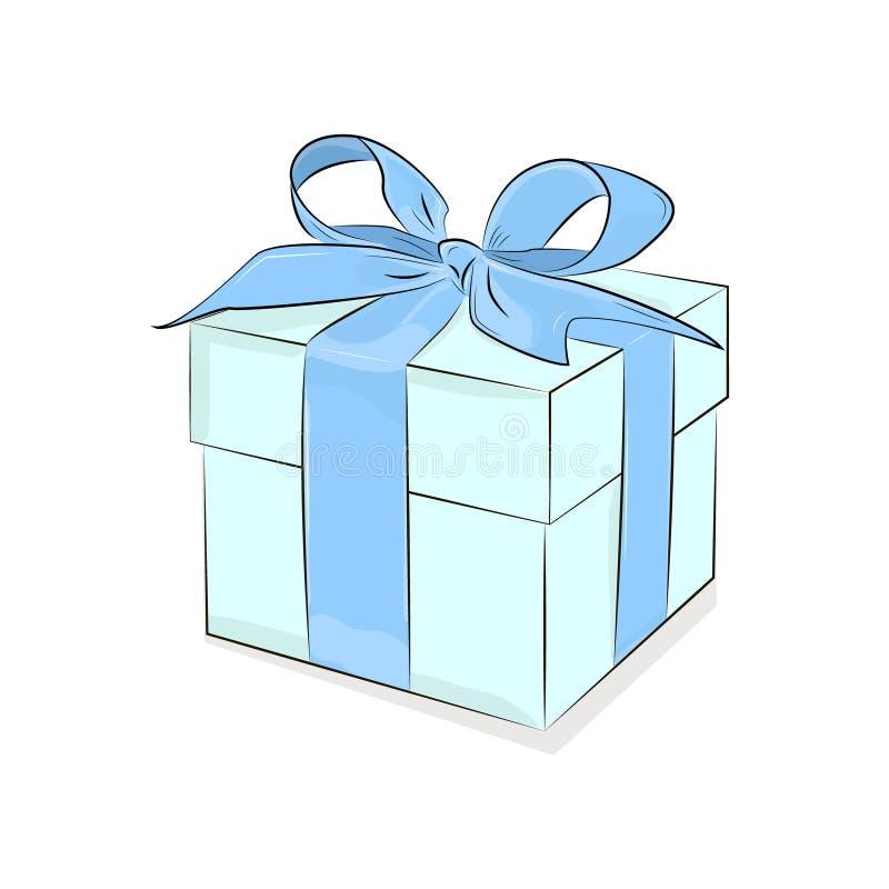 Wektoru pudełko z faborkiem Śniadaniowy projekt Turkusowy prezenta pudełko na białym tle ilustracja teraźniejsza Miłość okazyjny  royalty ilustracja