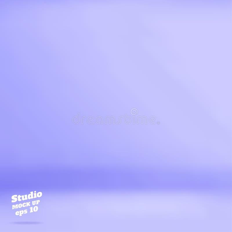 Wektoru Pustego pastelowego purpurowego błękitnego koloru pracowniany izbowy tło, Te ilustracja wektor