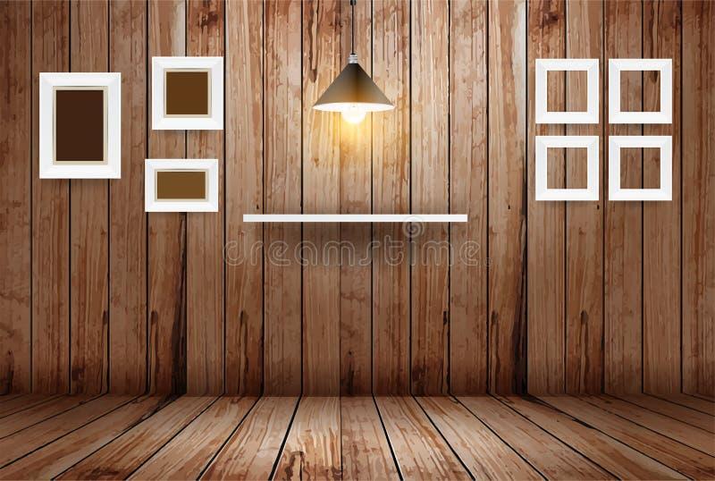 Wektoru pusty drewniany pokój ilustracji