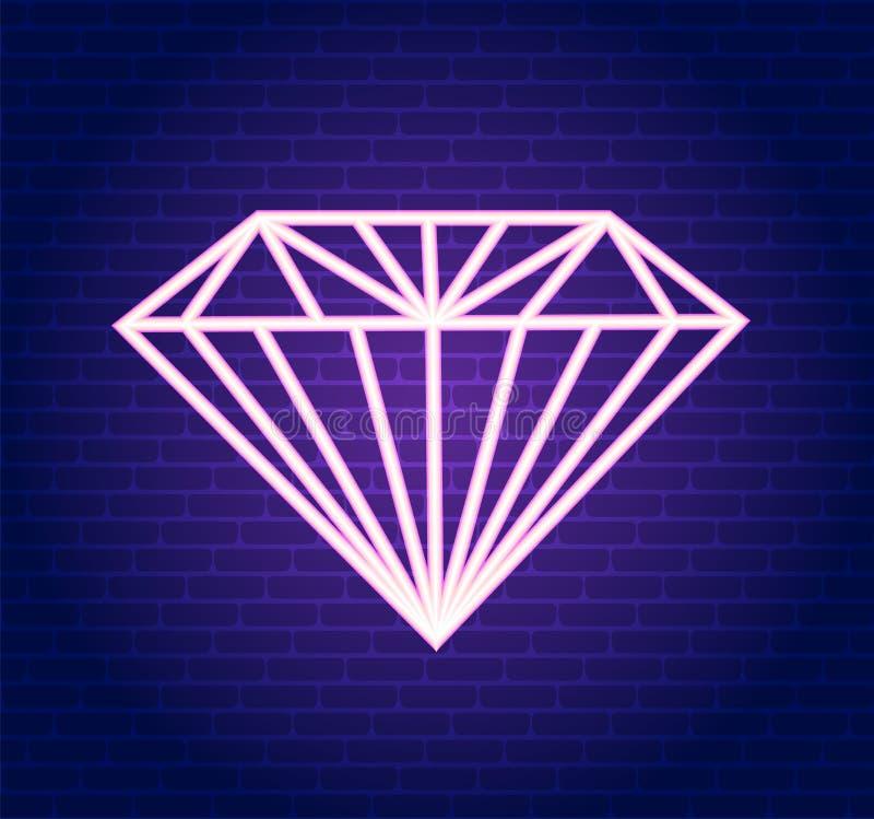 Wektoru różowy neonowy diament Ilustracja różowy diament ilustracji