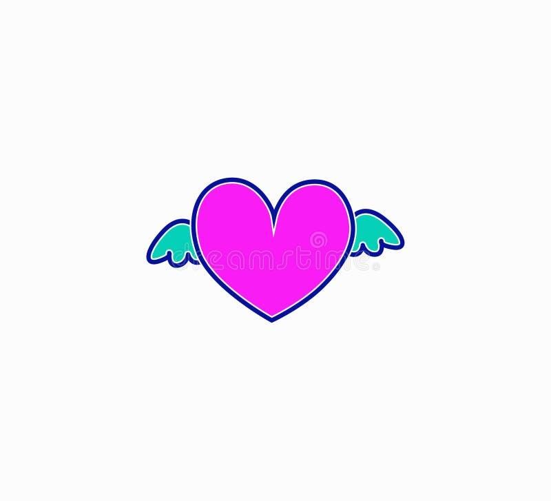 Wektoru różowy serce z skrzydłami - romantyczny wyznanie ilustracja wektor