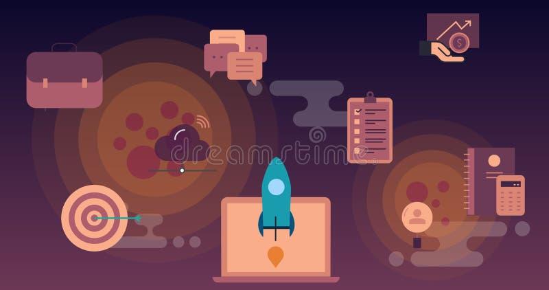 Wektoru rakietowy latanie przestrzeń nad chmury z technologii ikonami royalty ilustracja