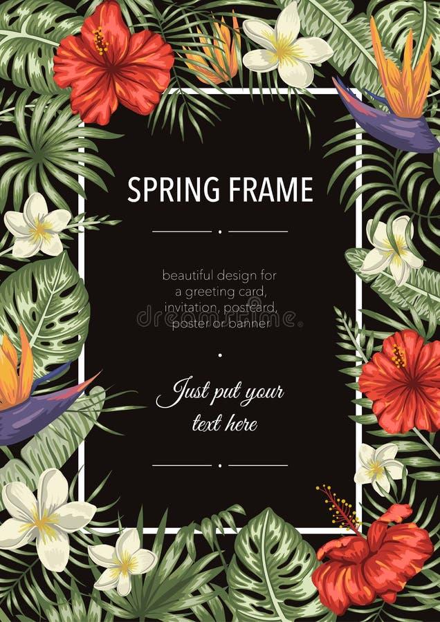 Wektoru ramowy szablon z tropikalnymi li??mi i kwiatami na czarnym tle Pionowo uk?ad karta z miejscem dla teksta Wiosna lub royalty ilustracja