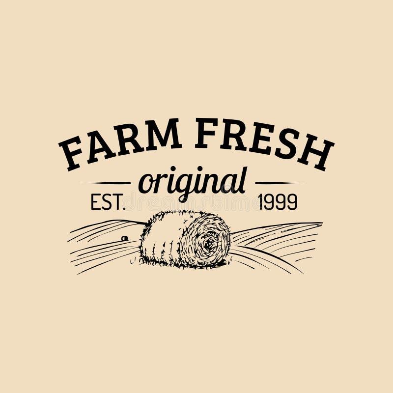 Wektoru rolny świeży logotyp Organicznie premii ilości produktów logo Eco jedzenia znak Rocznik ręka kreślił haystack ikonę ilustracja wektor