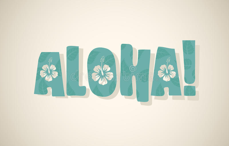 Wektoru słowo w retro kolorach aloha ilustracja wektor