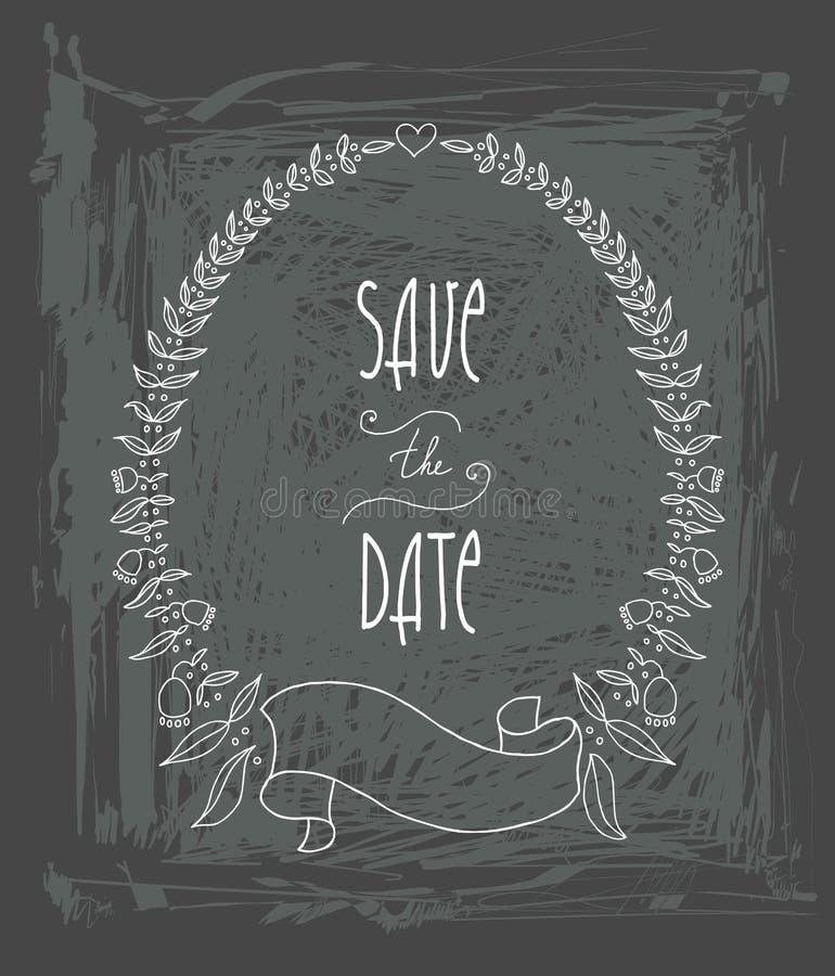 Wektoru Save Daktylowa Ozdobna rama Doskonalić dla zaproszeń lub zawiadomień ilustracja wektor